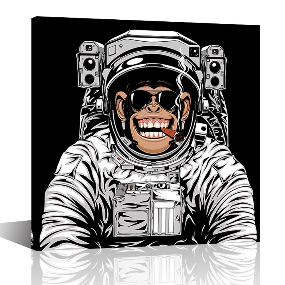 """Abstract Modern Animal Painting Laughing Gorilla Astronaut Prints Wall Art For Living Room Bedroom Office Home Décor Stretched And Framed Ready to hang 24""""x24"""" (Gorilla, 24""""x24"""")"""