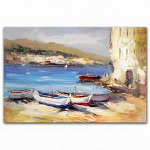 Wall Picture For Restaurant 100% Hand Made Canvas Oil Painting Boats