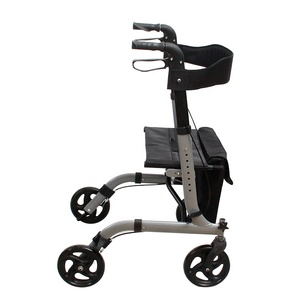 Folding Four 4 Wheel Steel Material Rollator Shopping Cart with Basket For Diabled Adult Old People