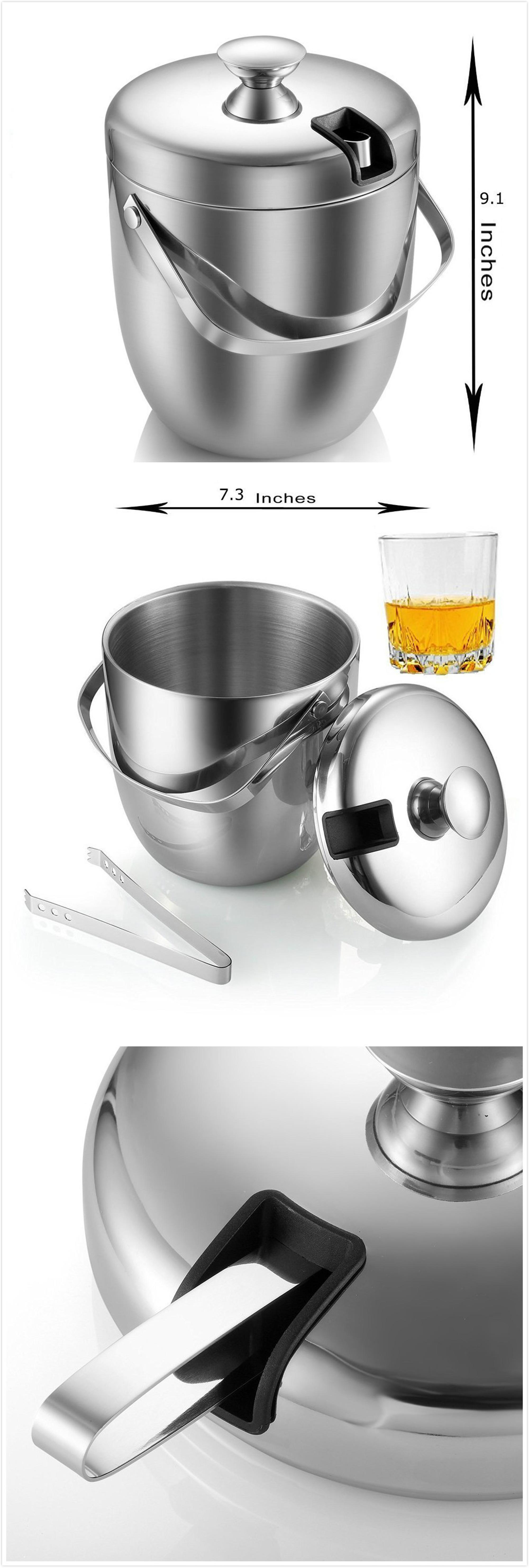 High Quality Insulated Stainless Steel Double Wall 2.8l Ice Bucket With Lid And Ice Tongs