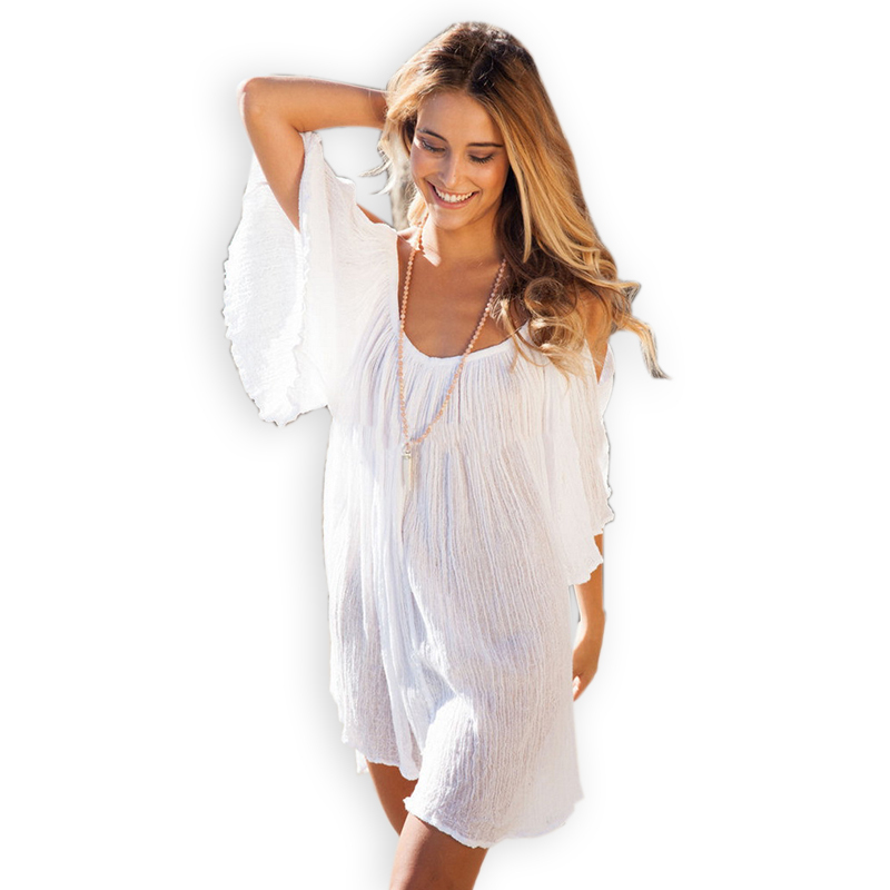 66d5581129 Get Quotations · 2015 New Loose Off Shoulder Fared Sleeve Summer Beach  Dress Women Sexy Casual White Mini Bohemian