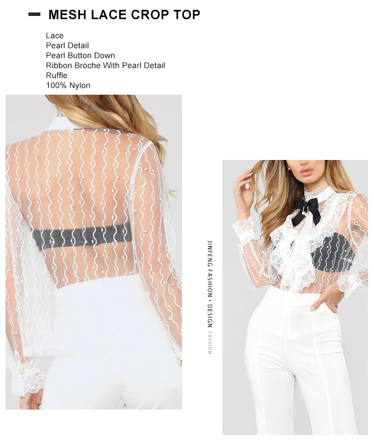 2019 Ladies Fashion New Spring Women Hollow Out Shirt Long Sleeve Ruffles Tops White Lace Sexy Lady Lace Blouse Crop Top