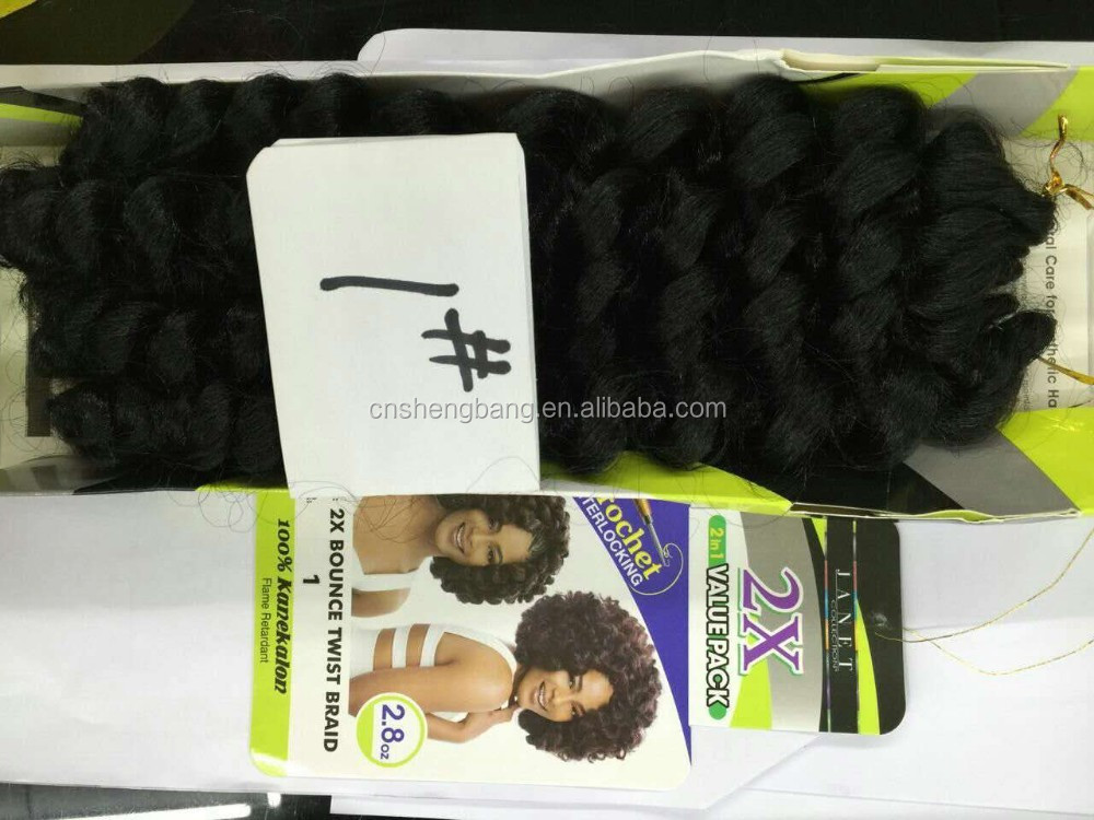 "Hot-sale JANET CROCHET 2X BOUNCE TWIST BRAIDS ,2X Thickness 2strands in one 18"" 80gram ,flame retardant"