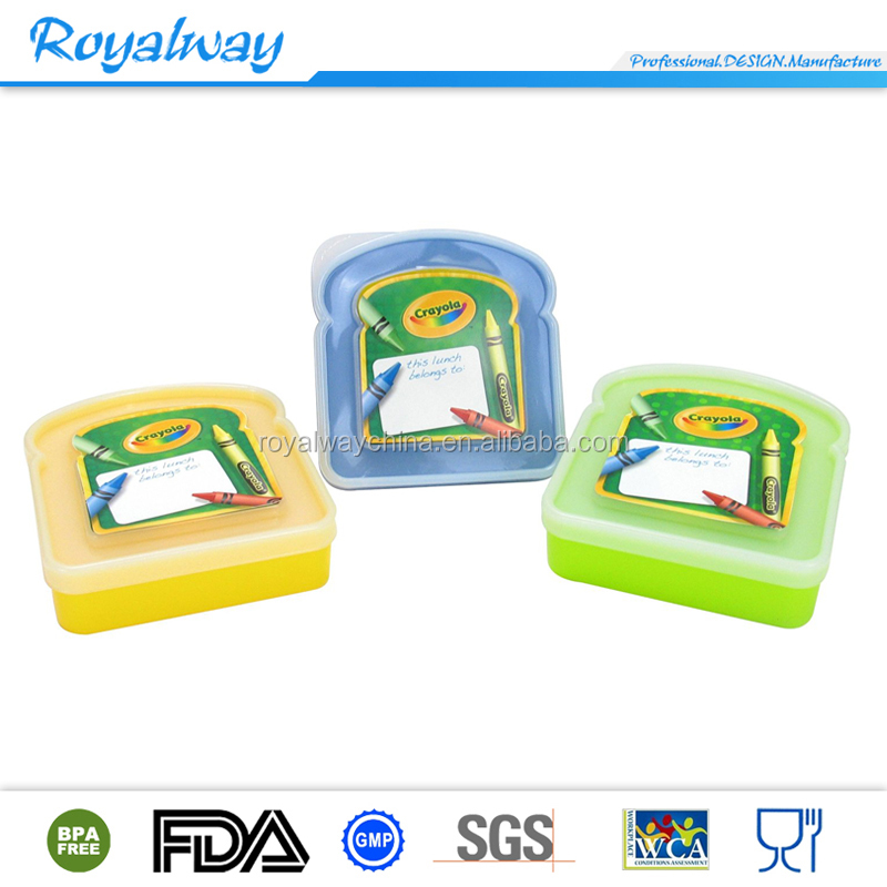 Reusable plastic sandwich keeper, kids lunch box