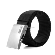 hot sale man canvas belt with roll ball buckle