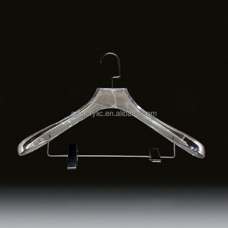 Dongguan manufaction high quality new product acrylic hanger, acrylic clothes hangers