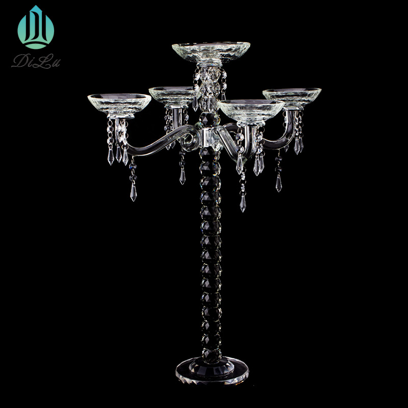 NEW 5 ARMS BEADS CRYSTAL GLASS BRAND TALL CANDELABRA CENTERPIECE WEDDING TABLE DECORATION WHOLESALE
