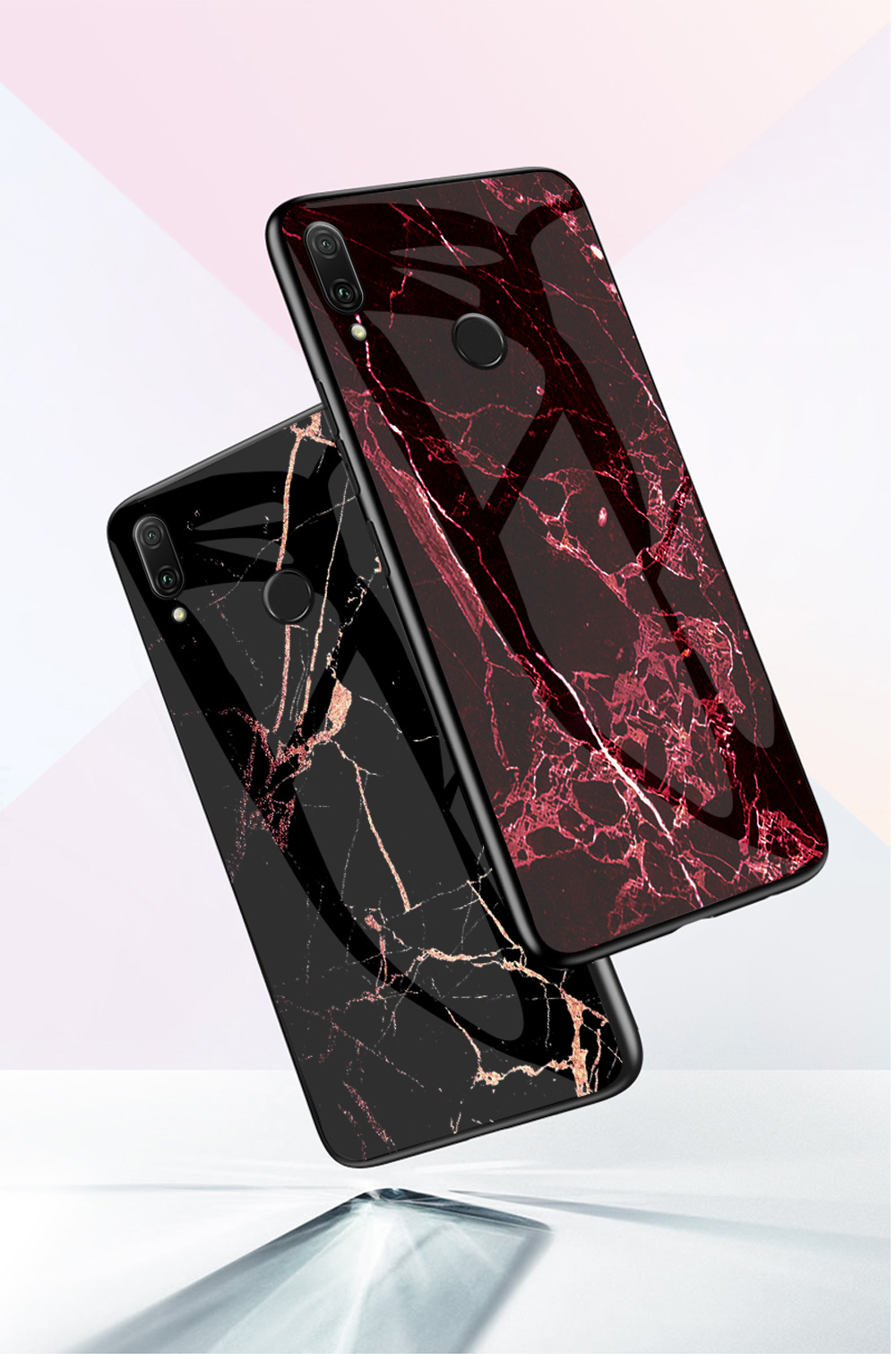 Luxury Marble Style Tempered Glass Phone Cases Anti-scratch Shell for Xiaomi Redmi 7