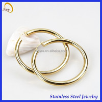 18k gold plated hollow hoop stainless steel earring jewely