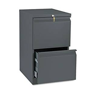 HON Brigade Standard Height Pedestal - 15quot; x 19.9quot; x 28quot; - 2 x File Drawer(s) - Security Lock - Charcoal Gray