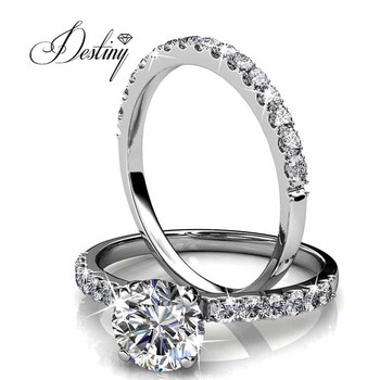 50246ede2 Destiny jewellery wholesale fashion rings women wedding rings 18k gold  plated latest design made with crystals
