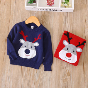 2018 Latest New Design Kids Girl Winter Clothing Cartoon Reindeer Knitting Pattern Ugly Christmas Sweater Children For 2-7 Years