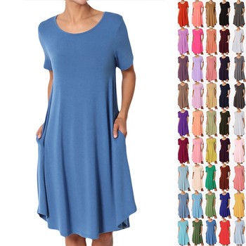 1918c276446204 Basic Jersey Knit Korte Mouw Blanco T-shirt Jurk Katoen Vrouwen Shirt Jurk
