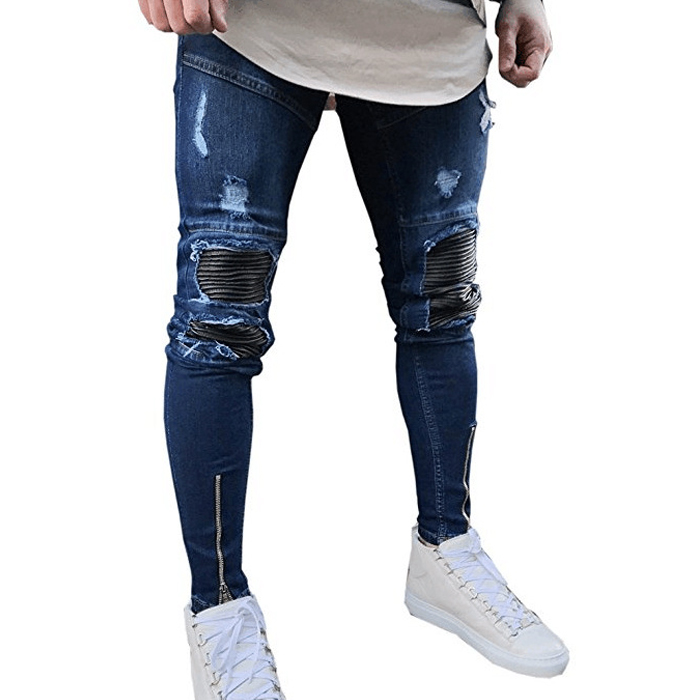 Shining4U Fashion Mens Popular Spliced Distressed Denim Straight-Leg Slim Jean