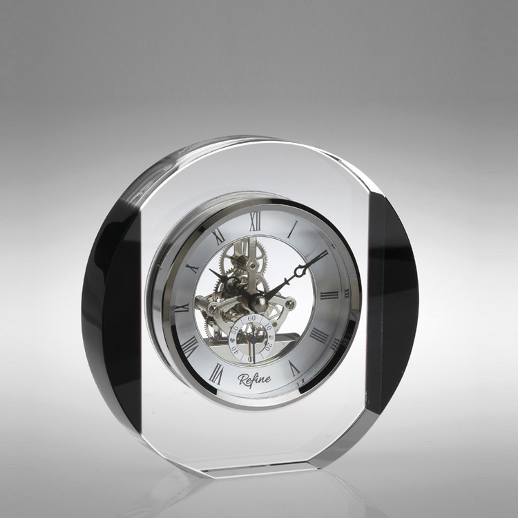 DILU K9 Crystal Round golf ball Table Clock for Office Table, Crystal decoration and Crystal Crafts
