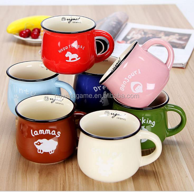 Sale 7 colors big belly ceramic cup with lid Wholesale Multicolour Large ceramic zakka milk mug breakfast cup barley flake mugs фото