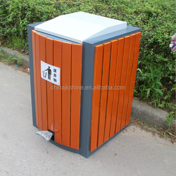 High Quality 80L Public Wood Recycle Bins Outdoor Open Top Dustbins for New York Urban Street