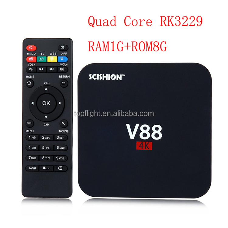 RK3229 Quad Core RAM1GB ROM8GB WIFI Media Player IPTV Smart Set Top BOX V88 Android 7.1 TV Box