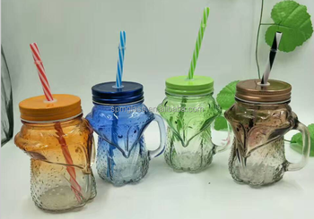 animal shaped fox personalized mason jar 16oz with handle and straw