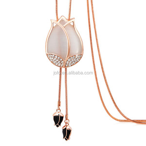 Women Silver&Gold Crystal Flower Tulip Pendant Long Chain Tassel Sweater Necklace