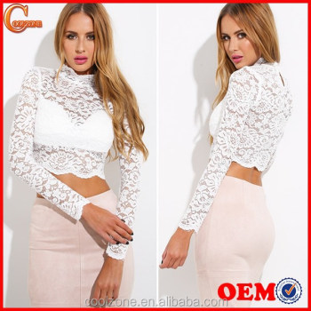 Wholesale clothing manufacturers elegant long sleeve lace crop top ...