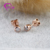 Provence Woman Earring with Round Cut 3mm Synthetic Moissanite Diamond Setting 10K Rose Gold Earring Studs