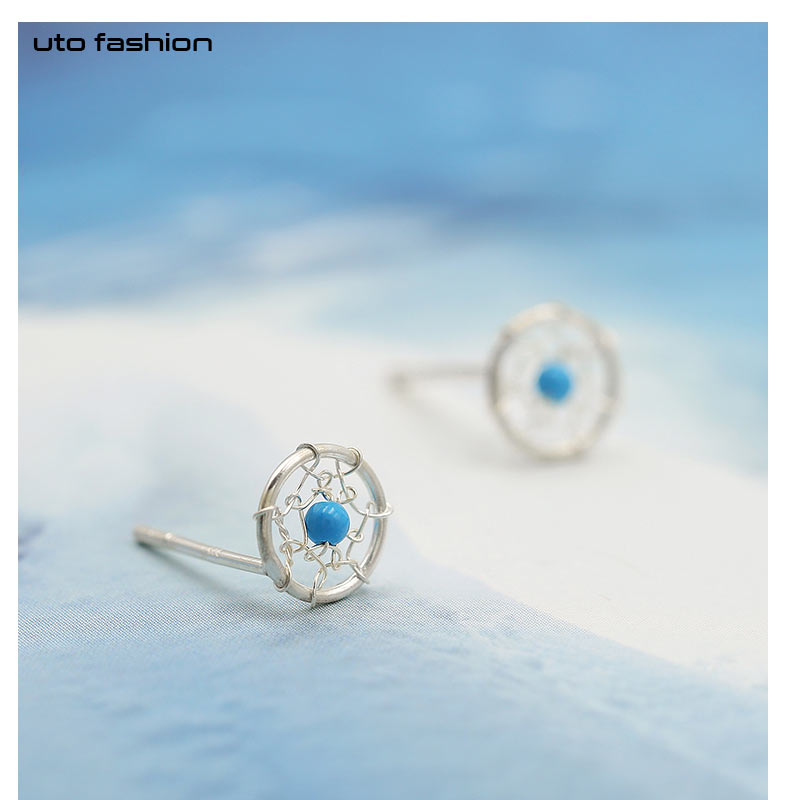 E01596 fancy Dainty Dream Catcher 925 Silver Stud <strong>Earrings</strong>