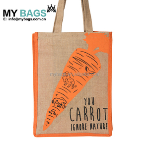 Wholesale Customized Jute Burlap Hessian eco Juco cotton tote Shopper shopping bag with pvc coated