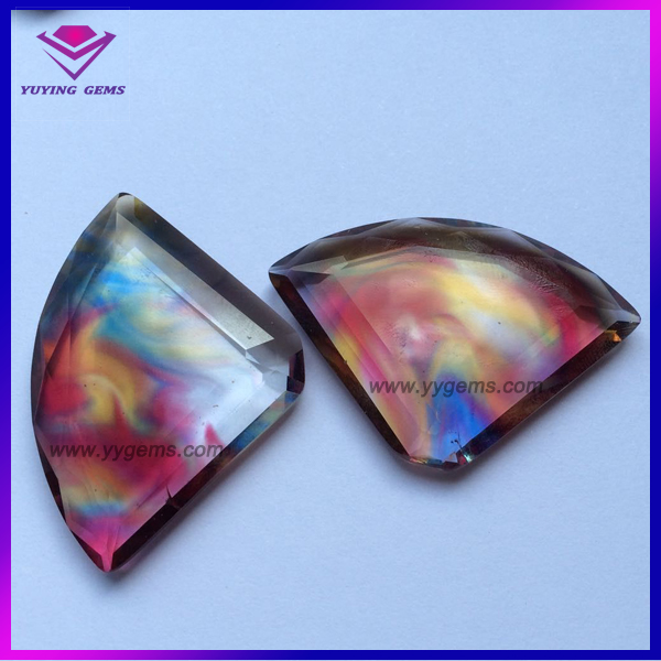 Fan Shaped Colorful Glass Gems Stones Jewelry