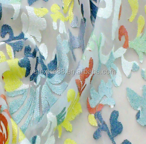 Top quality cutting flower lace embroidered fabric/lace embroidery organza 3d