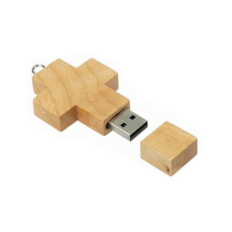 Business Promotional Gift Bulk Wood Eco Friendly Cross Shape usb flash drive Wooden Pendrive 32GB