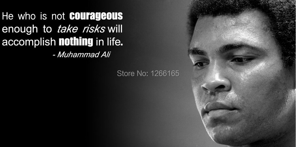 Free shipping Muhammad Ali Inspirational Silk wall Poster modern home decor Black and White Classical Boxing sport poster B3