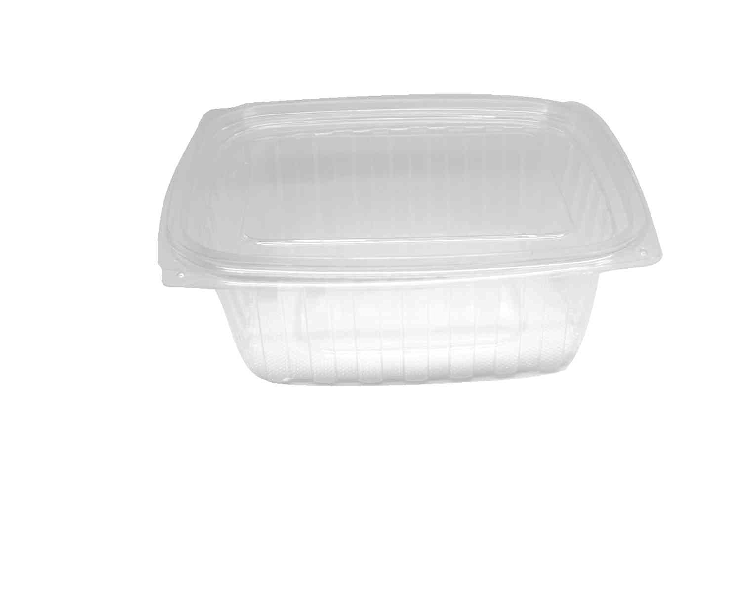 """Choice-Pac L1D-2064 Polyethylene Terephthalate Rectangular 2-Piece Cold Deli Container, 9"""" Length x 7-3/8"""" Width x 3-1/4"""" Height, Clear, Extra-Large, 64-Ounce (Case of 200)"""