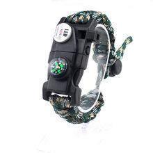 Военный аварийный плетеный браслет для выживания с SOS светодиодный уличный Паракорд Кемпинг спасательная Веревка Браслеты компас свисток ...(Китай)
