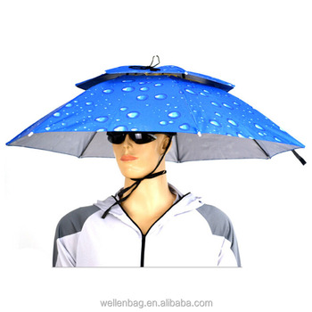 Venta al por mayor plegable sombrero de cabeza paraguas para adultos sombrero  paraguas de la fábrica cc389e8c858