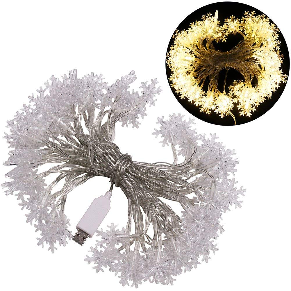 XUNATA 6.6ft LED String Lights, USB Powered Indoor Outdoor Waterproof Fairy Snowflake String Light Party Lighting for Patio Christmas Wedding Bedroom Decoration(Warm White)