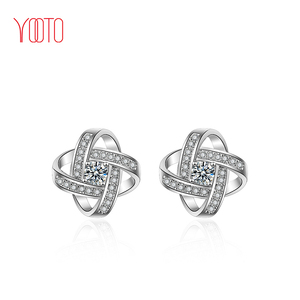 Sparkly silver tone crystal knot stud earring accessories