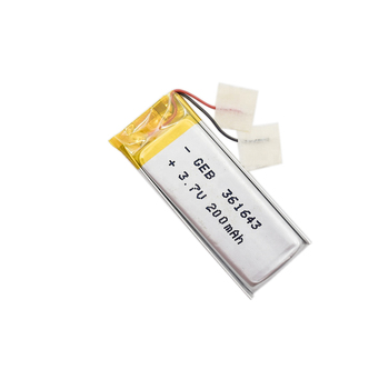 ultra slim rechargeable lithium ion polymer battery 361643 3.7V 200mAh for smart watch