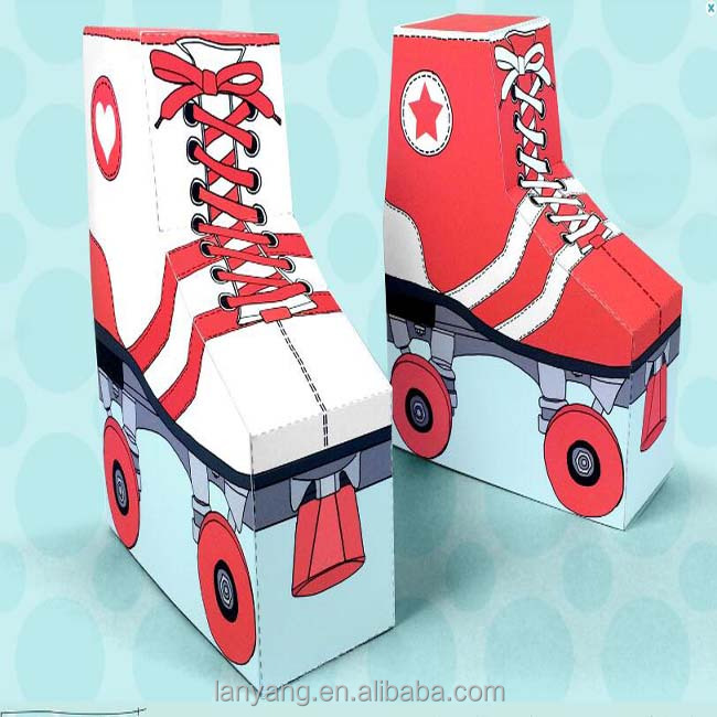 Patins vermelhos caixas do favor fit gift cards, doces, cookies e mais caixa de partido
