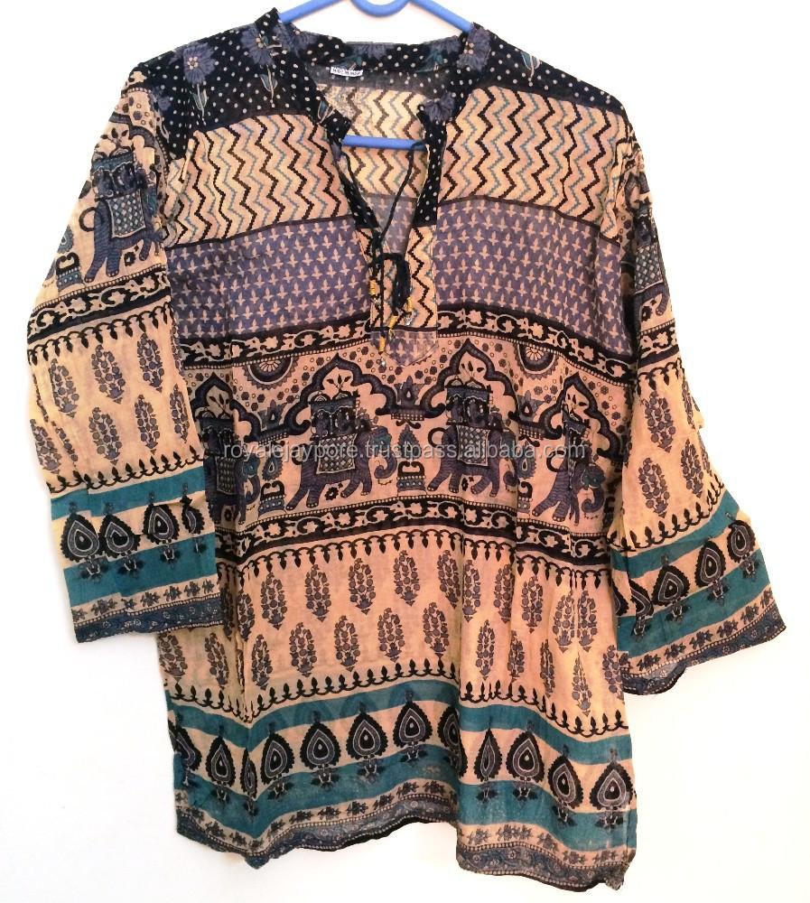 Etnische traditionele indiase gedrukte casual chic boer blouse los tuniek top dames blouses - Etnische pouf ...
