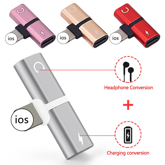 Dual 2 in1 Adapter Charging Adapter For IOS Audio Splitter Headphone Adapter Converter фото