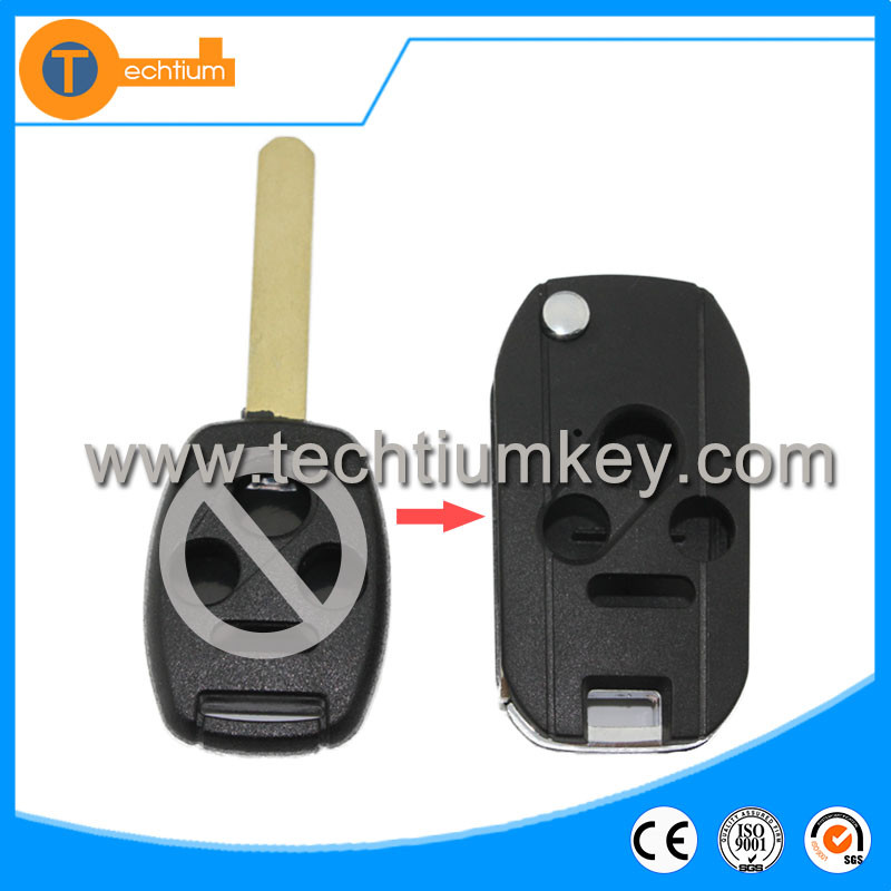 Auto car key blanks wholeslae with logo and blade folding flip remote key cover shell for Honda odyssey pilot accord