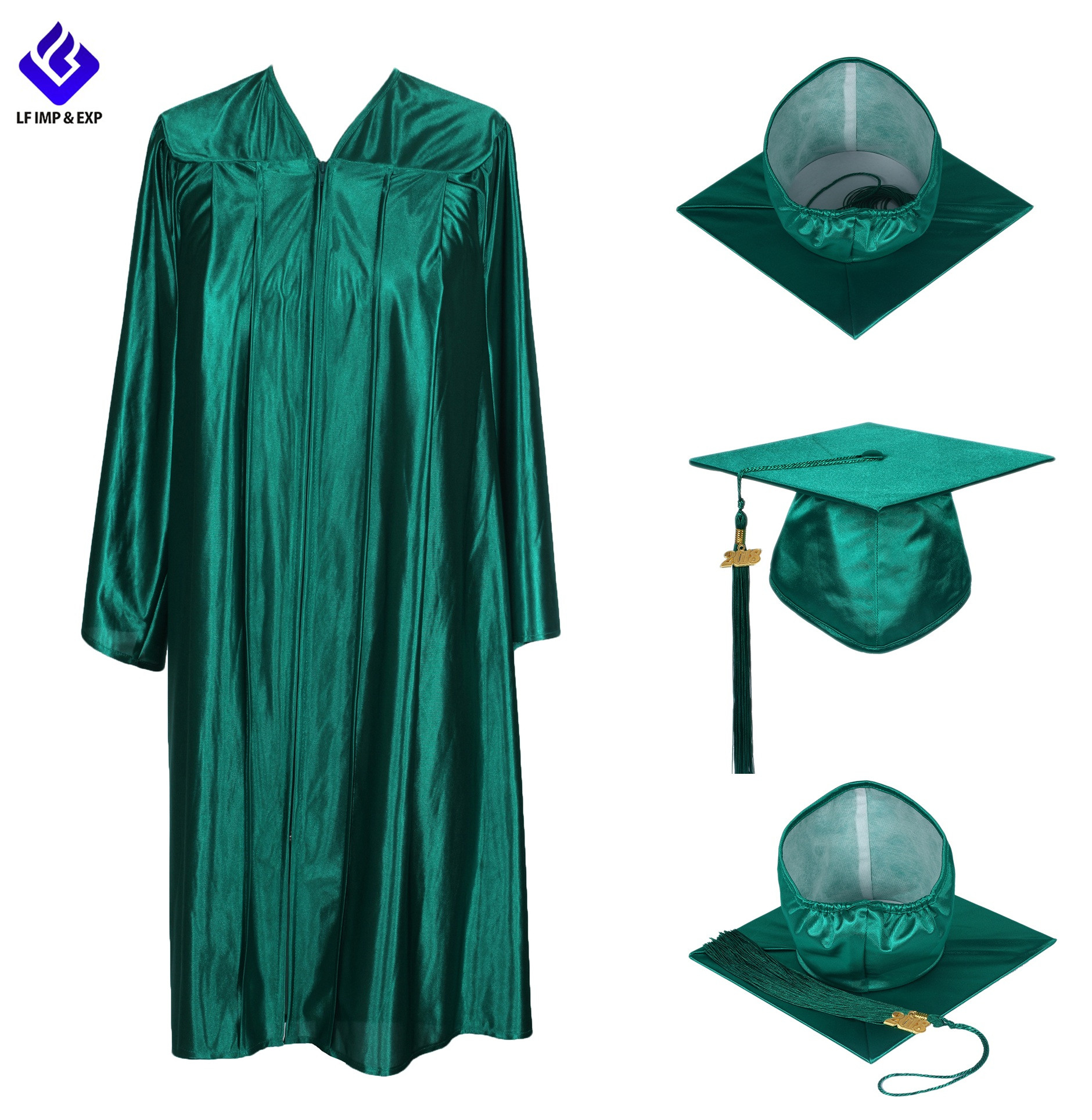 Souvenir Graduation High School Gowns Caps With Shiny fabric
