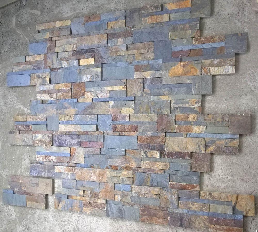 Paneles decorativos de pared de piedra de pizarra oxidada - Panel piedra precio ...