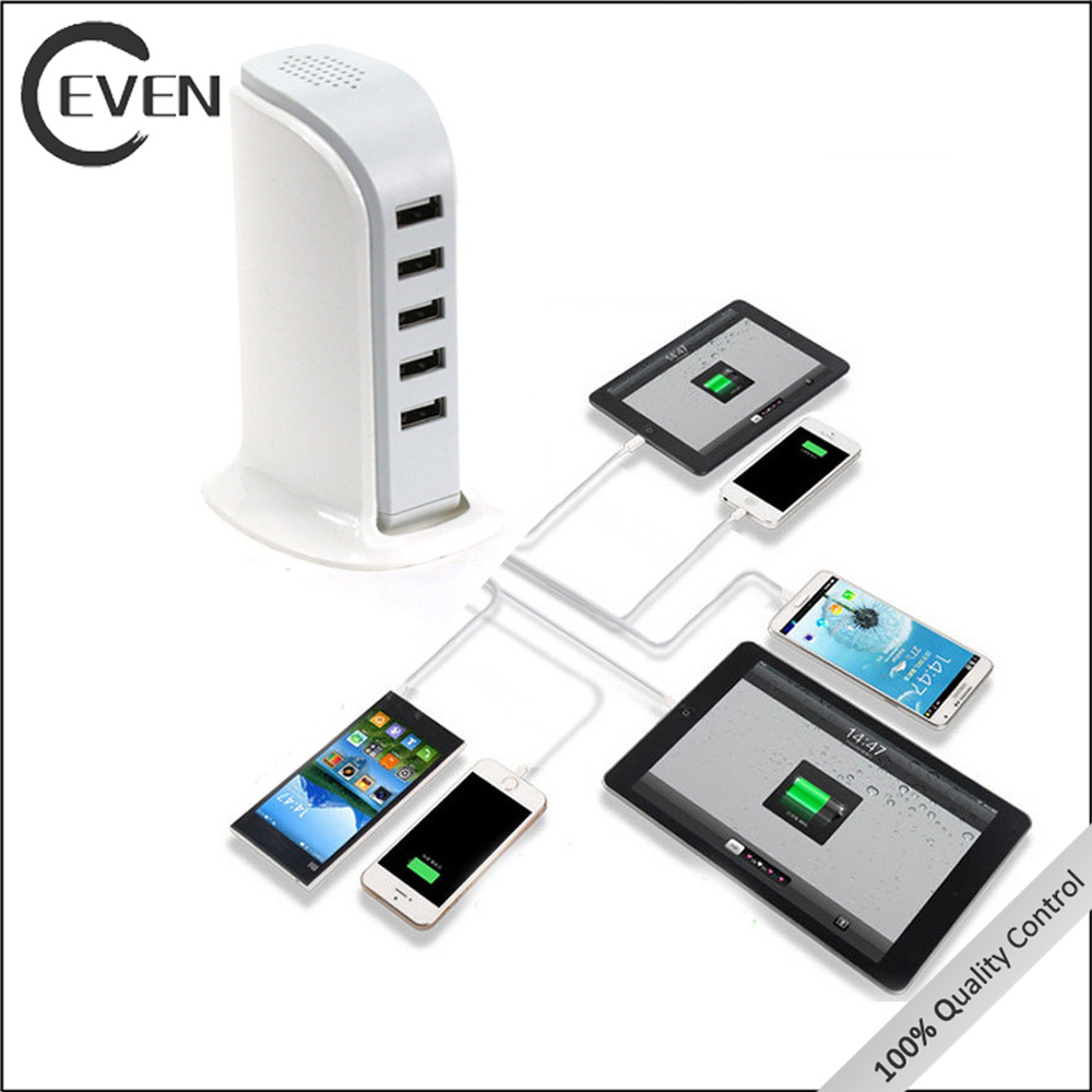 5V 6A desktop 5 port usb mobile charging station, multiple usb wall charger