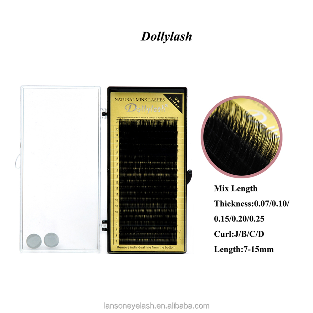 common quality fiber private label dolly lash 20 lines for training for freshman false individual eyelash extensions