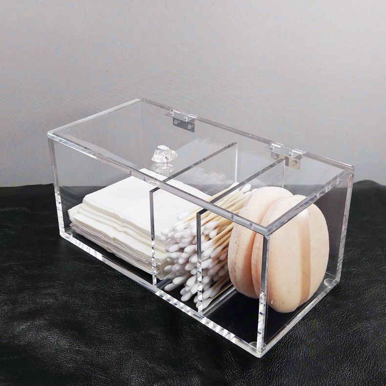 Clear acrylic cotton pads holder makeup cotton buds storage organizer box with hinged lid and 3 compartments
