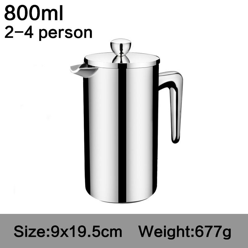 Новый стиль нержавеющая сталь Французский пресс кофе перколаторы Кофеварка Лучшие двойные стенки кофе горшок давая один фильтр корзина(Китай)