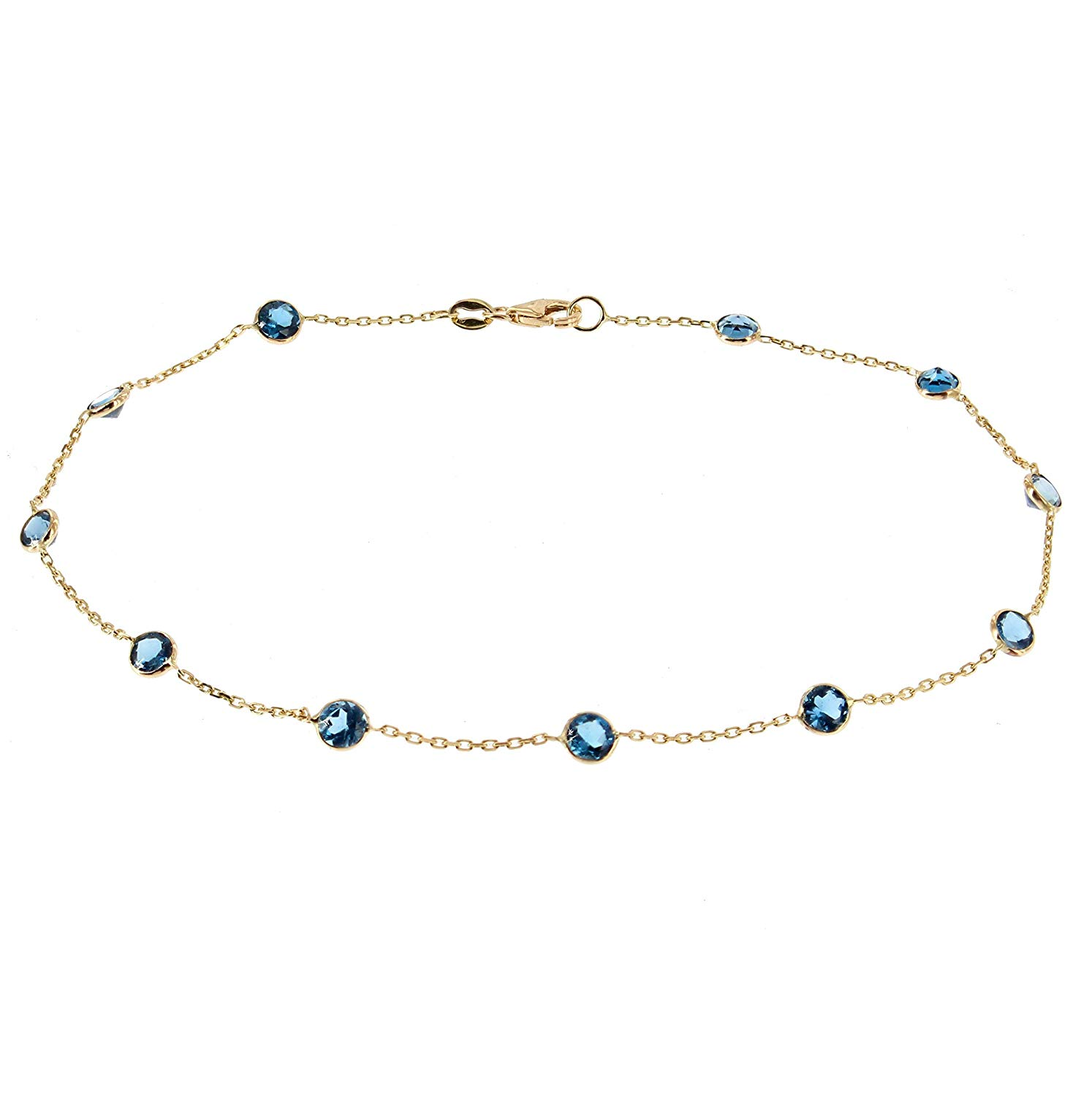 Amethyst And Blue Topaz Drop 9 Inches 14K Yellow Gold Anklet With Lemon Topaz