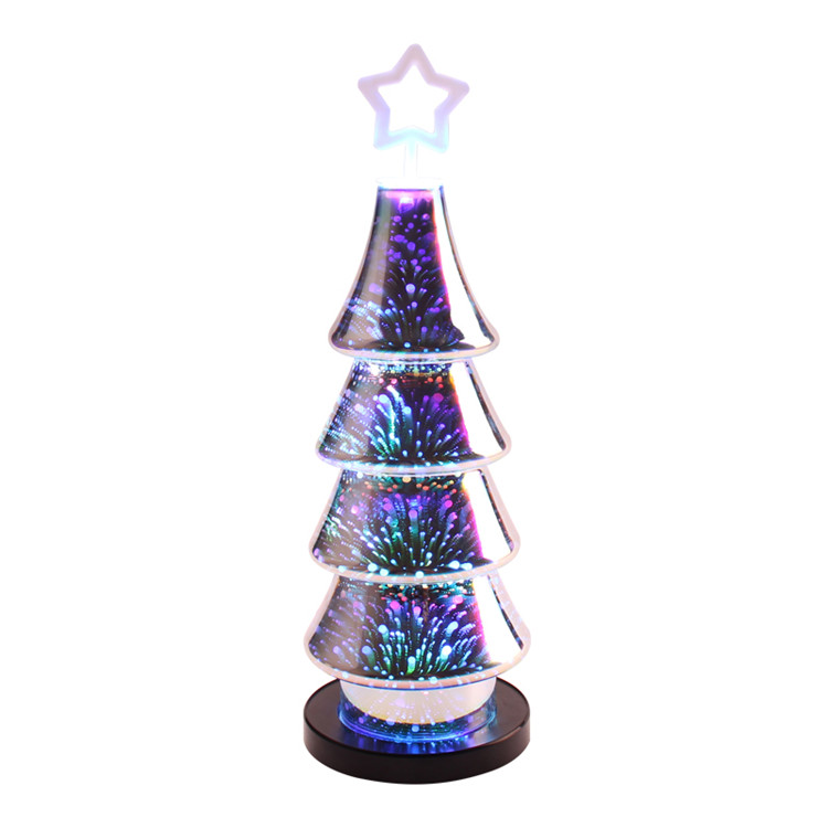 3D Christmas tree led light table lamp plastic cover with usb charger